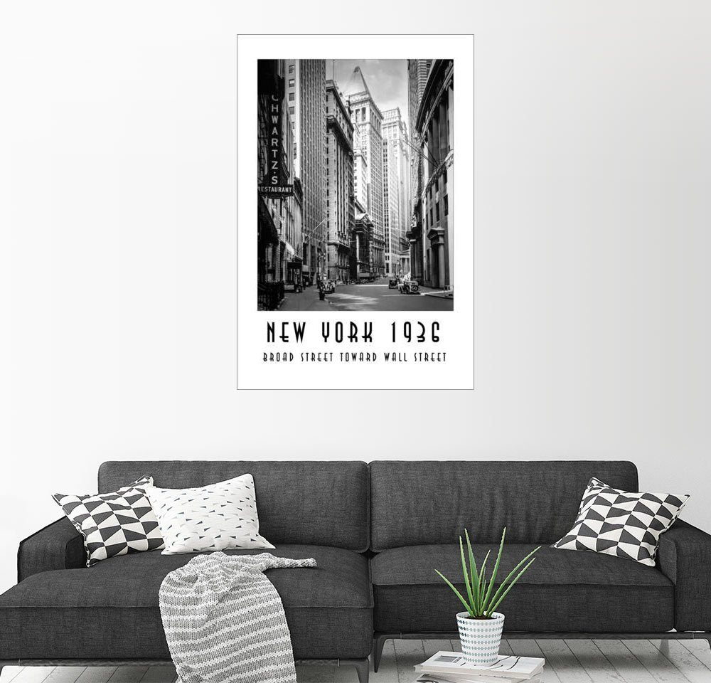 Posterlounge Wandbild - Christian Müringer »Historisches New York Broad Street to Wall St...«