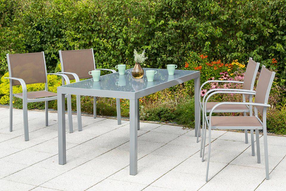 MERXX Gartenmöbelset »Ostia«, 5-tlg., 4 Stapelsessel, Tisch 150x90 cm, Aluminium