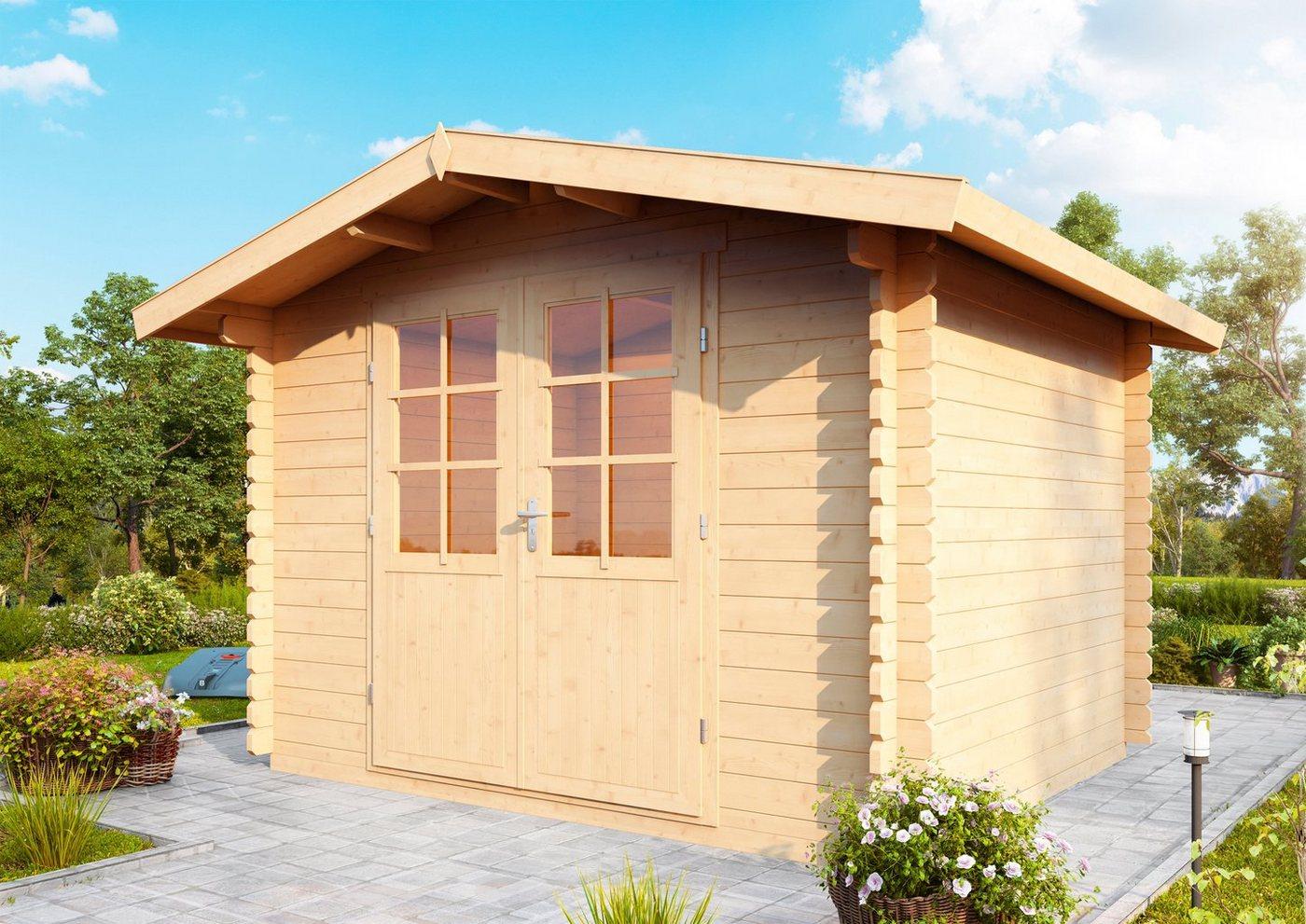 WOLFF FINNHAUS Gartenhaus »Bibertal 28-B«, BxT: 350x330 cm, inkl. Fußboden und Vordach | Garten > Bodenbeläge-Garten | Wolff