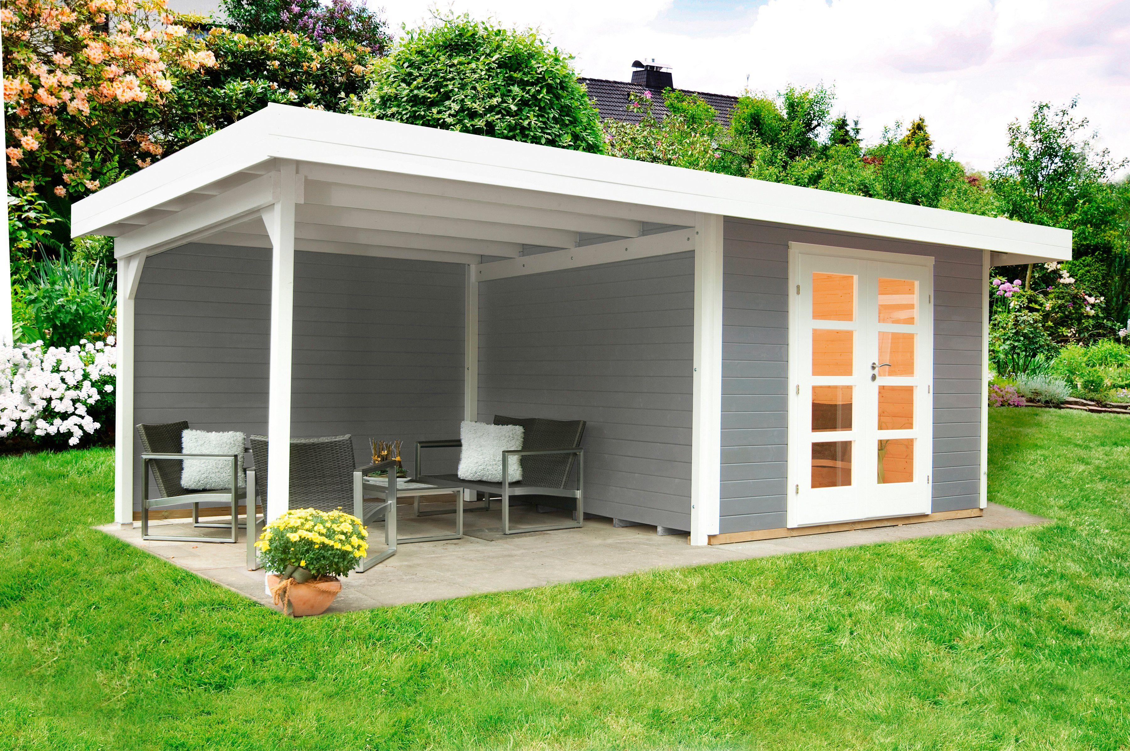 WOLFF Set: Gartenhaus »Relax Lounge B«, BxT: 645x314 cm, inkl. Fußboden, Dachanbau mit Rückwand