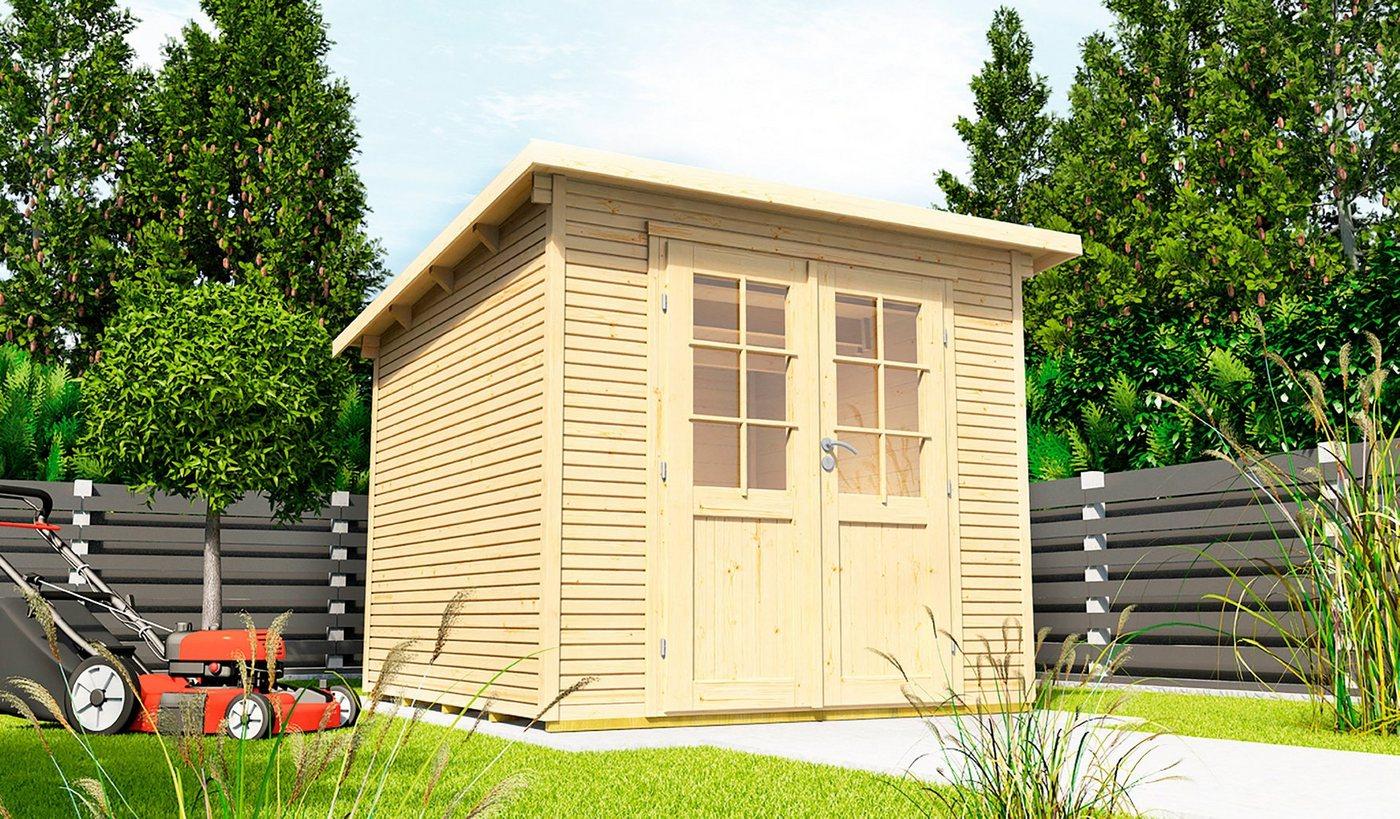 WOLFF FINNHAUS Gartenhaus »Pulti Softline 3030«, BxT: 320x342 cm, inkl. Fußboden | Garten > Bodenbeläge-Garten | Wolff