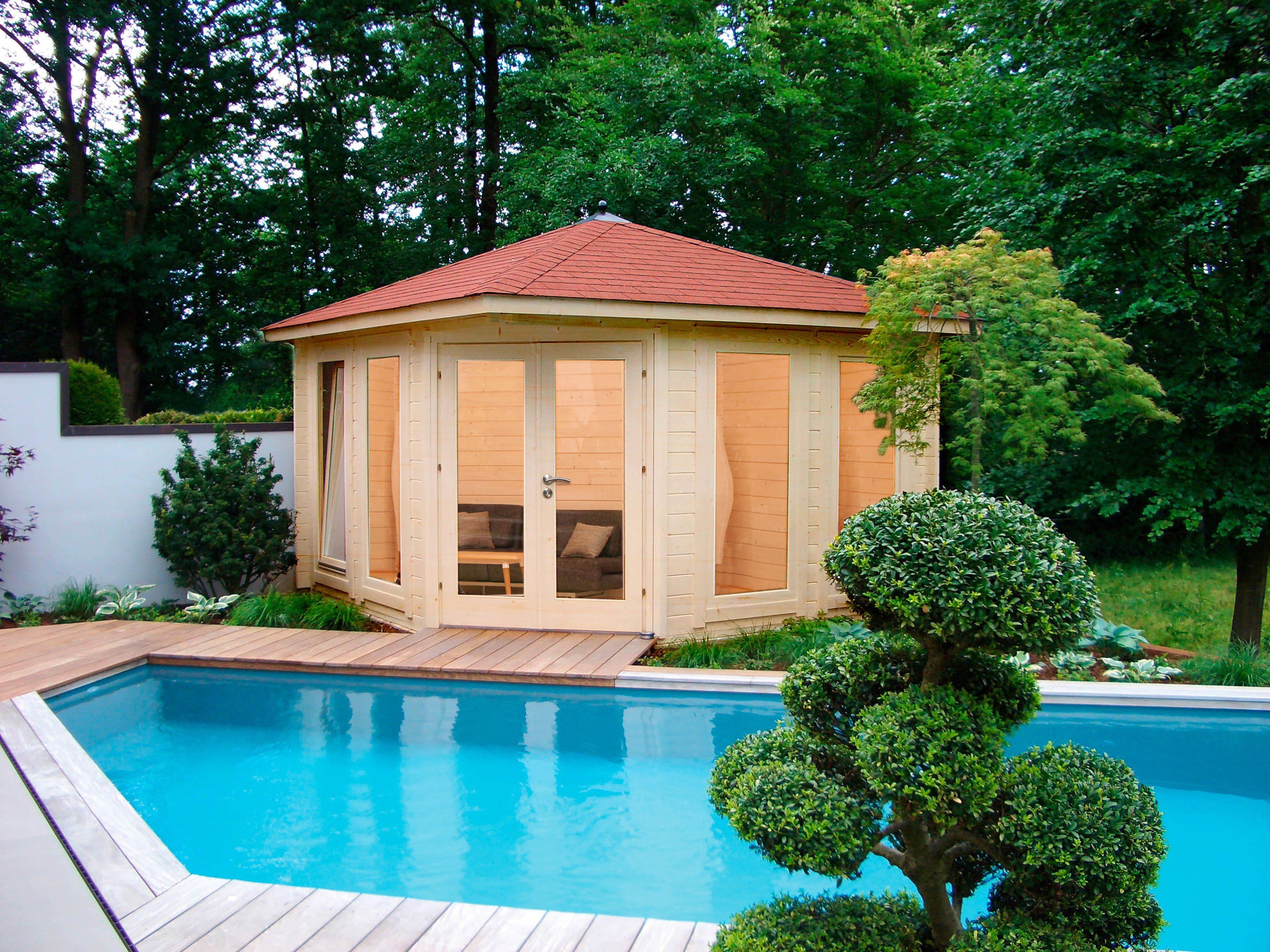 WOLFF Set: Gartenhaus »Katrin 44-C«, BxT: 447x447 cm, Fußboden, rote Schindeln, Dachhaube