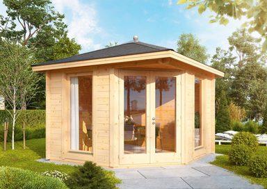 WOLFF FINNHAUS Set: Gartenhaus »Katrin 44-A«, BxT: 352x352 cm, Fußboden, schwarze Schindeln, Dachhaube