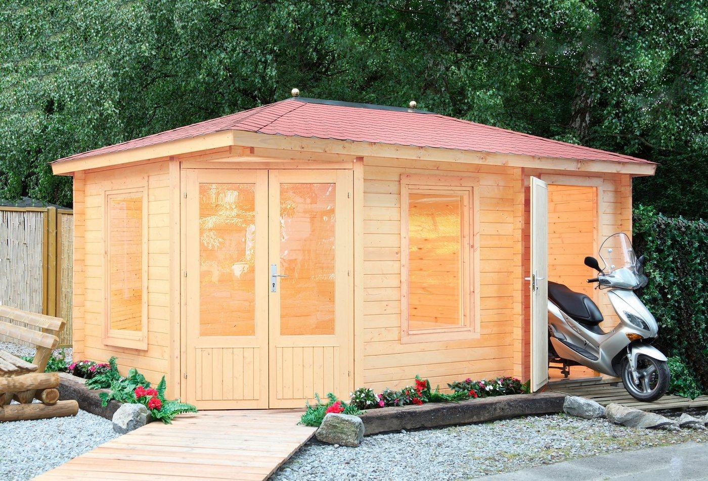 WOLFF FINNHAUS Set: Gartenhaus »Anna 40-A/2«, BxT: 503x349 cm, inkl. Fußboden, rote Schindeln | Garten > Bodenbeläge-Garten | Wolff