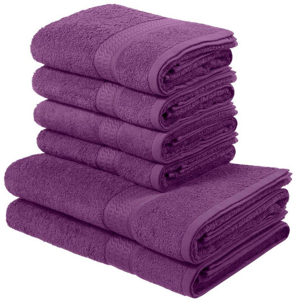 My Home Handtuch Set Juna Mit Feiner Strukturbordüre 6 Teiliges Set Online Kaufen Otto
