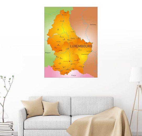 Posterlounge Wandbild »Luxemburg - Landkarte«
