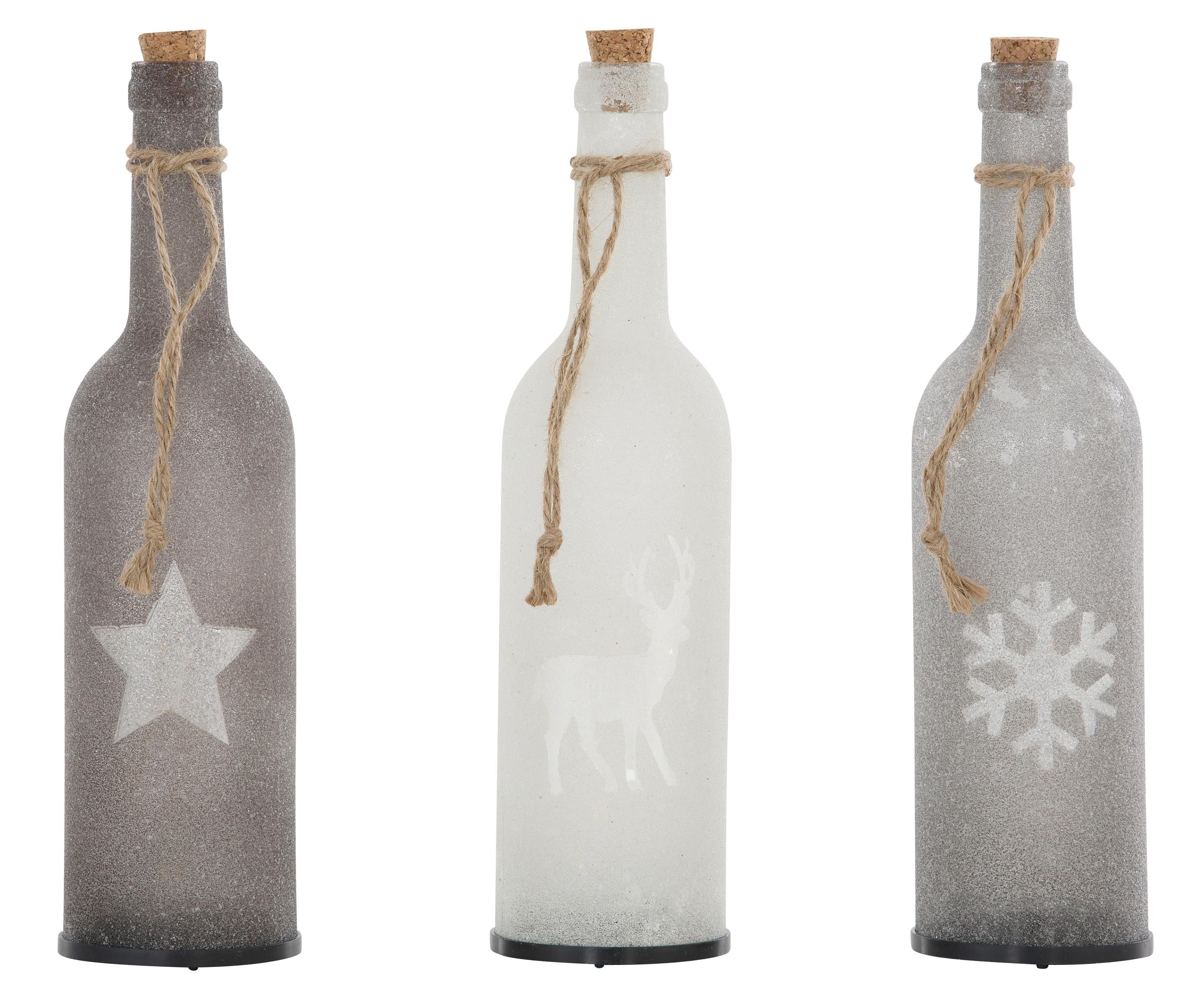 LED Deko-Glasflaschen, 3-teilig