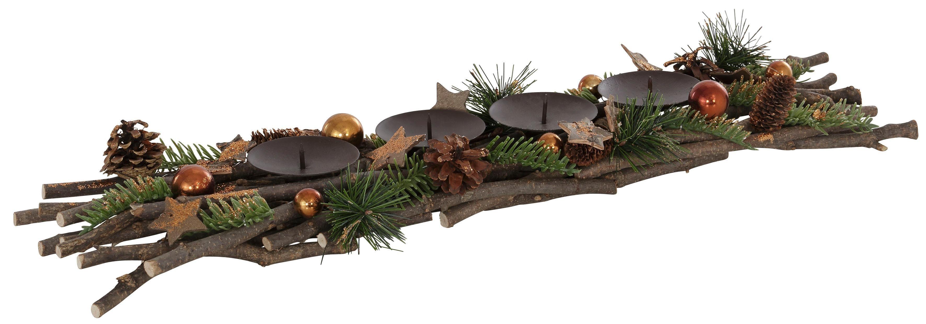 Kerzenhalter mit dekorativer Applikation, Länge 63 cm