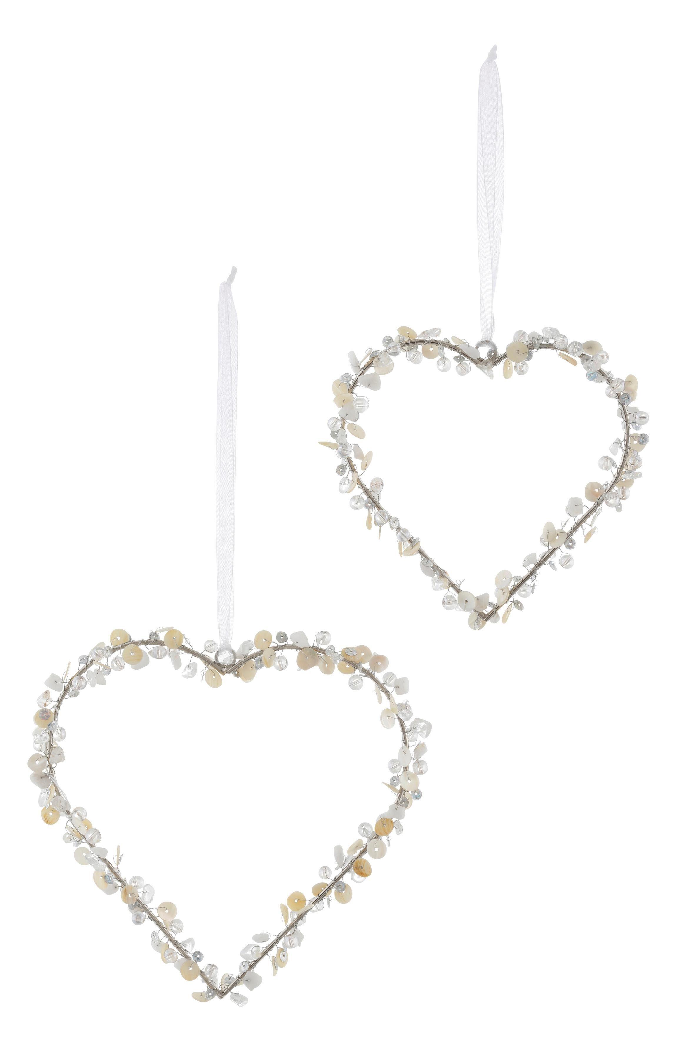 Deko-Hänger mit Perlen und Pailletten, 2-tlg., »Herz«