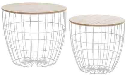 Beistelltisch weiß, aus Metall und Holz, 2er Set