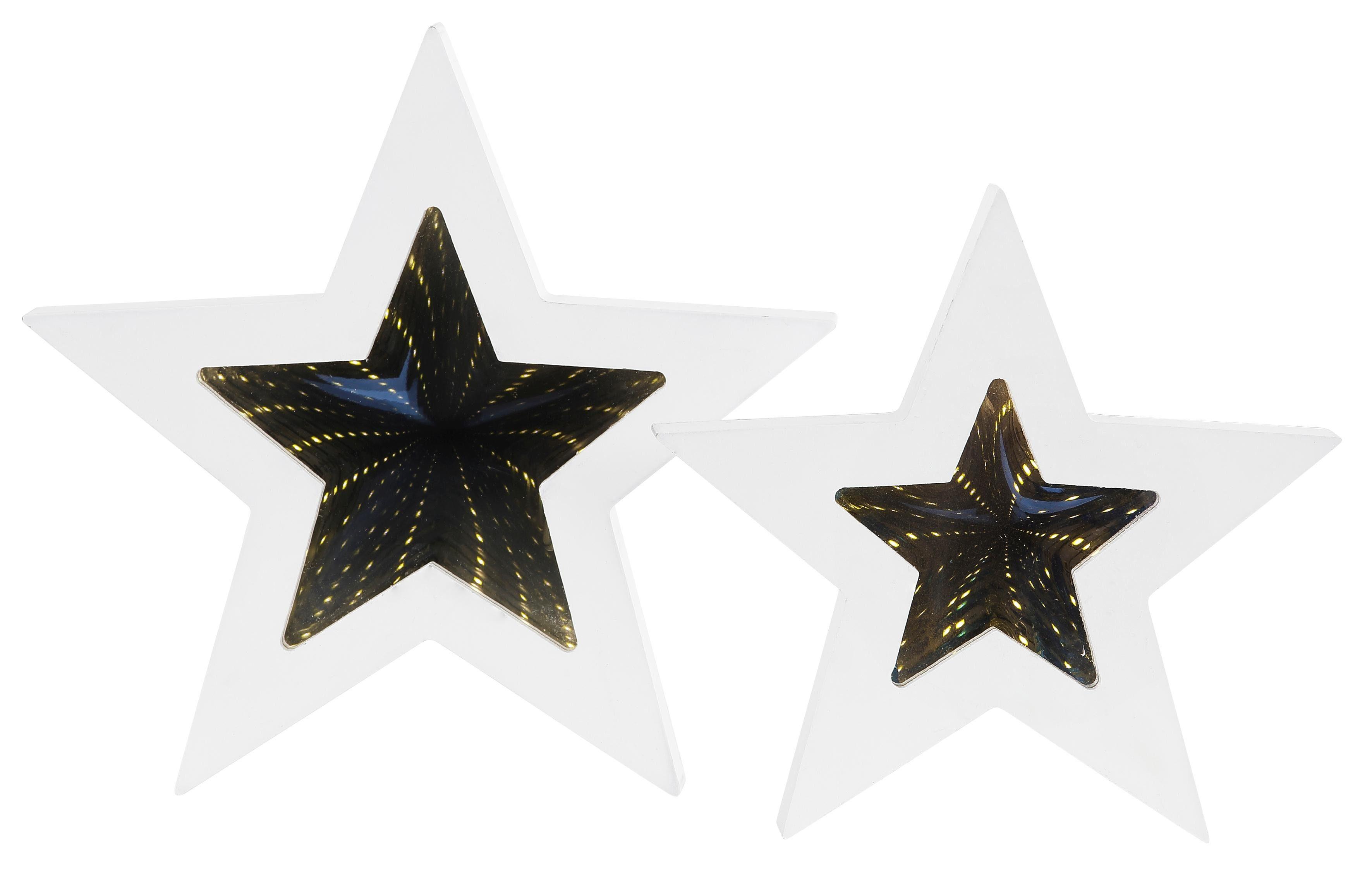 LED Deko-Sterne mit 3D-Effekt, 2-tlg.