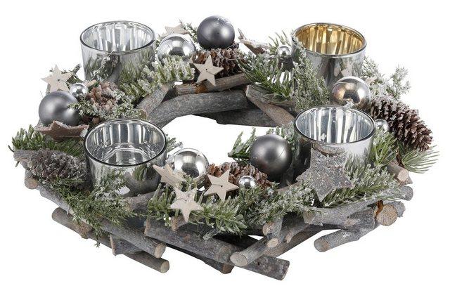 Home affaire Adventskranz, aus Echtholz für 4 Teelichter, Ø 30 cm | Weihnachten > Adventskranz und Weinachtsleuchter | Grau | home affaire