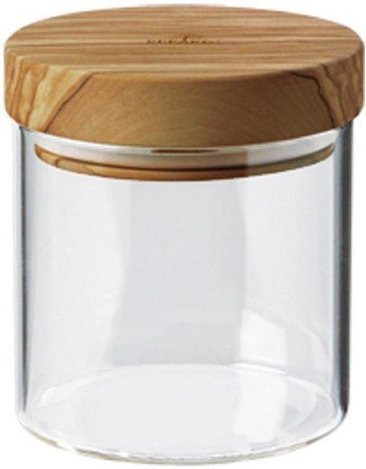 BERARD FRANCE 1892 Vorratsglas, Borosilikatglas, Olivenholz, (1-tlg)