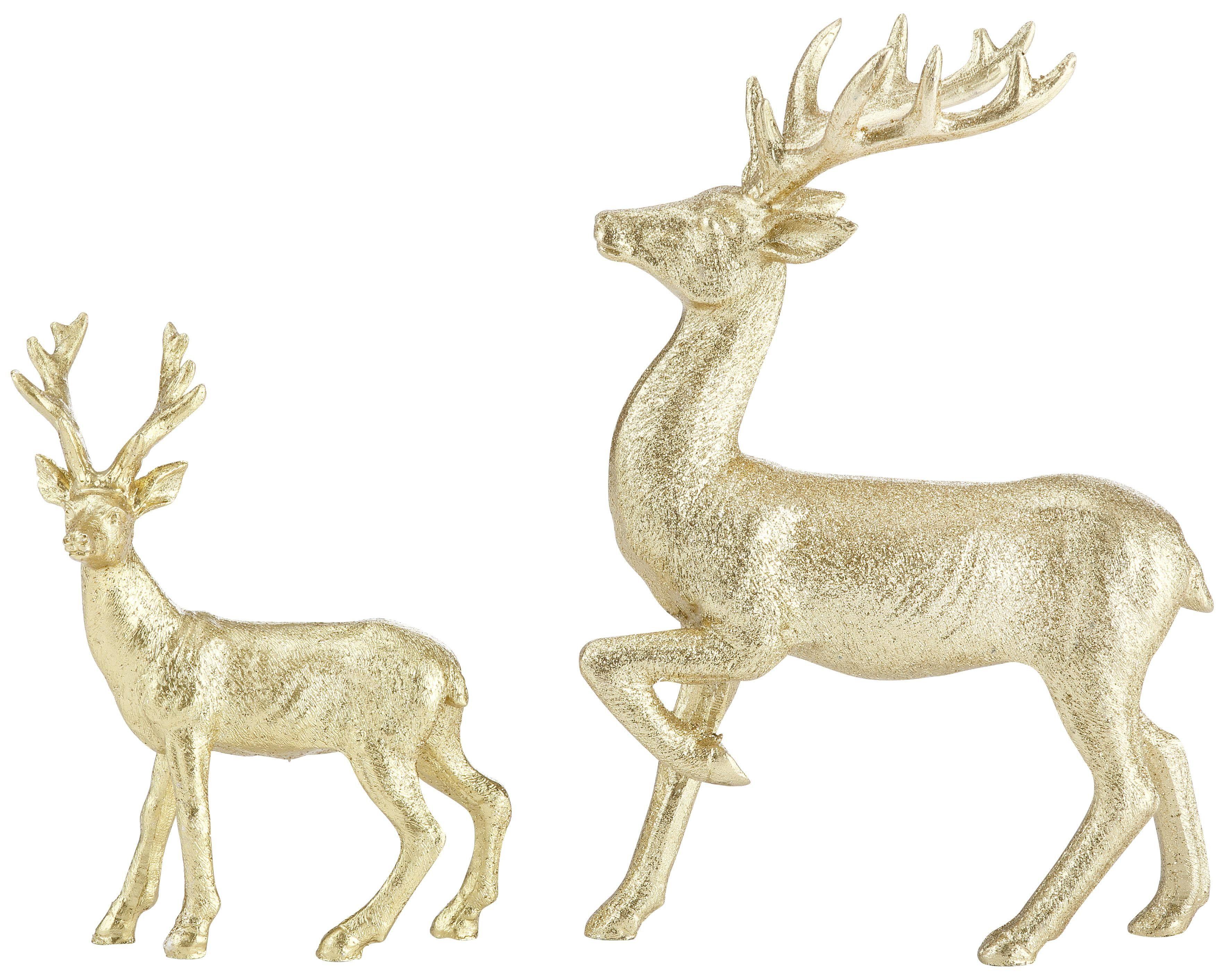 Inge-Glas Dekofigur Hirsche, 2er Set, goldfarben