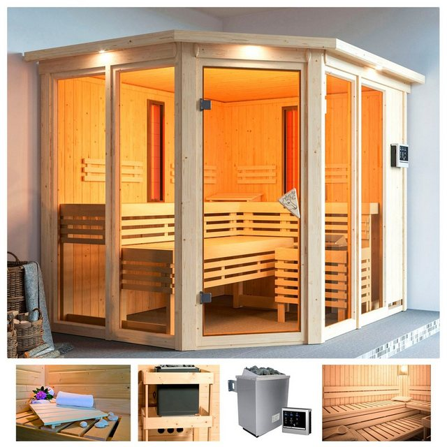 Saunen und Zubehör - KARIBU Sauna »Adria«, Infrarot, 245x210x202 cm, 9 kW Ofen ext. Strg., Dachkranz  - Onlineshop OTTO
