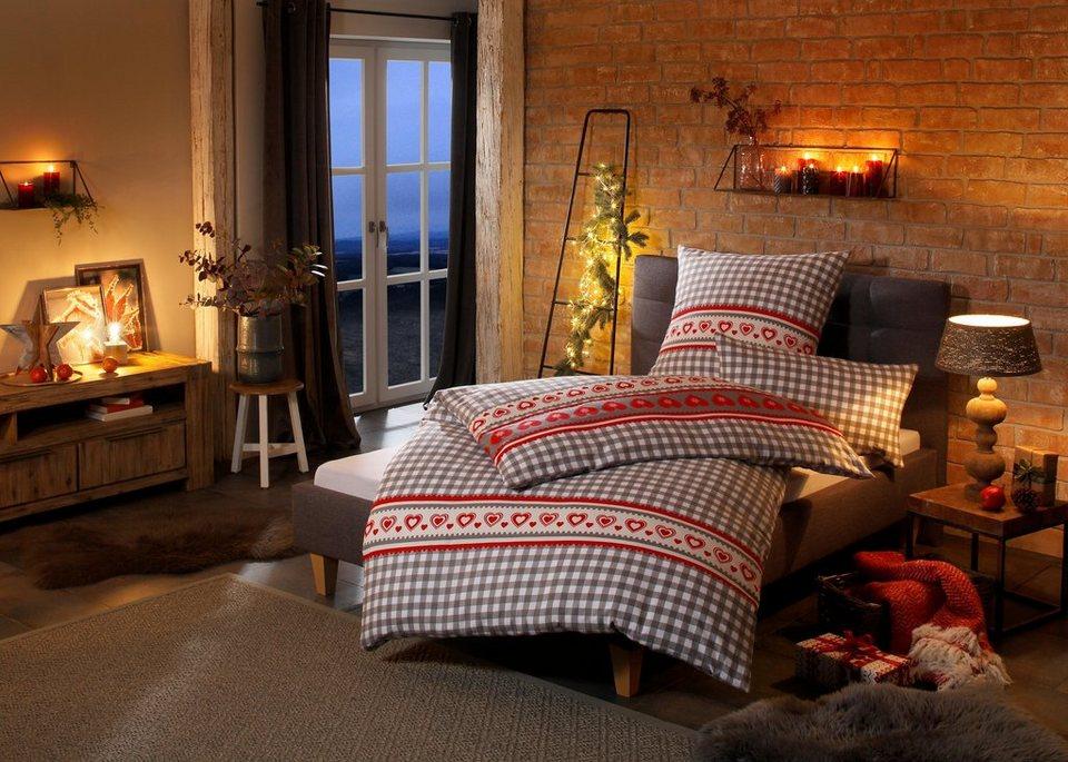 bettw sche heidi home affaire collection mit karos und kleinen herzen online kaufen otto. Black Bedroom Furniture Sets. Home Design Ideas