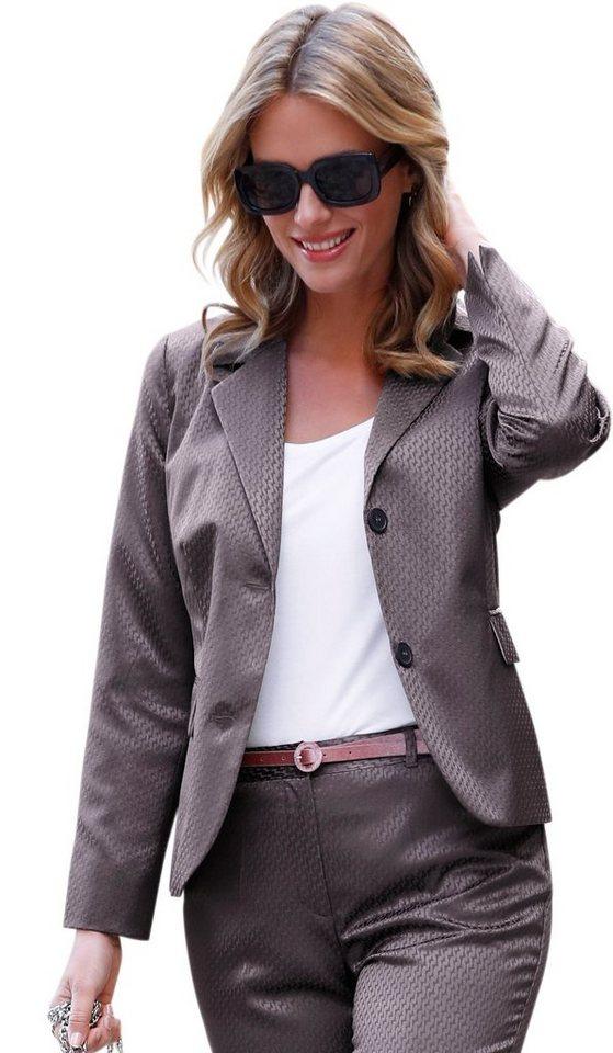 Damen Lady Blazer in hochwertiger Jacquard-Qualität braun | 04713302595384