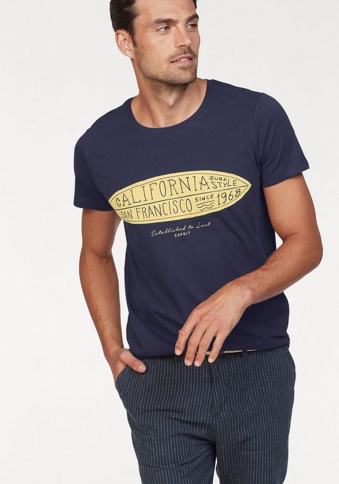Herren Esprit T-Shirt mit plakativem Print vorn blau | 04060469046656