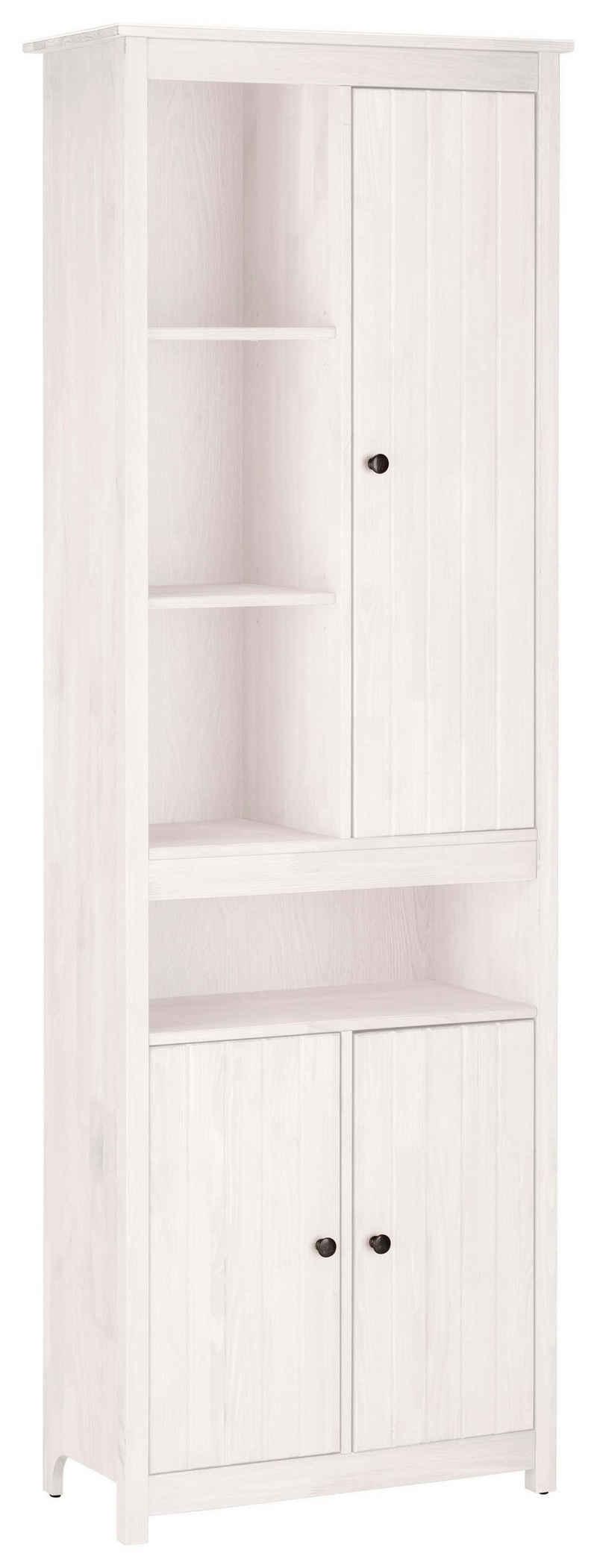 Home affaire Hochschrank »Westa« Breite 62 cm, Badezimmerschrank aus Massivholz, Kiefernholz, Metallgriffe, 4 offene Fächer, 3 Türen