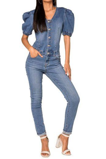 Nina Carter Jumpsuit »3523« (1-tlg) Damen Denim Jeans Jumpsuit Combi Puffy Overall