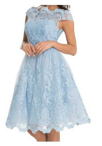 Damen Chi Chi London Cocktailkleid RHIANNON DRESS Spitze blau | 05053190599071