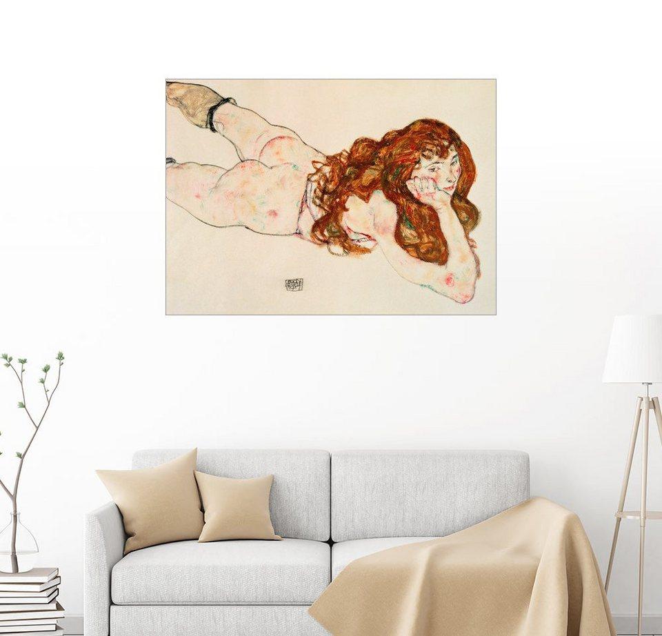 Posterlounge Wandbild - Egon Schiele »Auf dem Bauch liegender ...