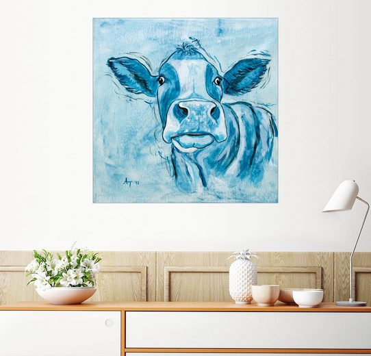 Posterlounge Wandbild - Annett Tropschug »capriblaue Kuh, Leo«