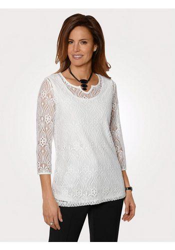 Damen Mona 2-in-1 Shirt aus floraler Spitze weiß | 04055715225848