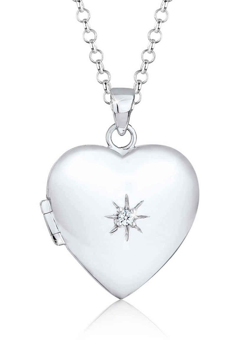 Elli Kette mit Anhänger »Herz Amulett Diamant (0.03 ct) 925 Sterling Silber«