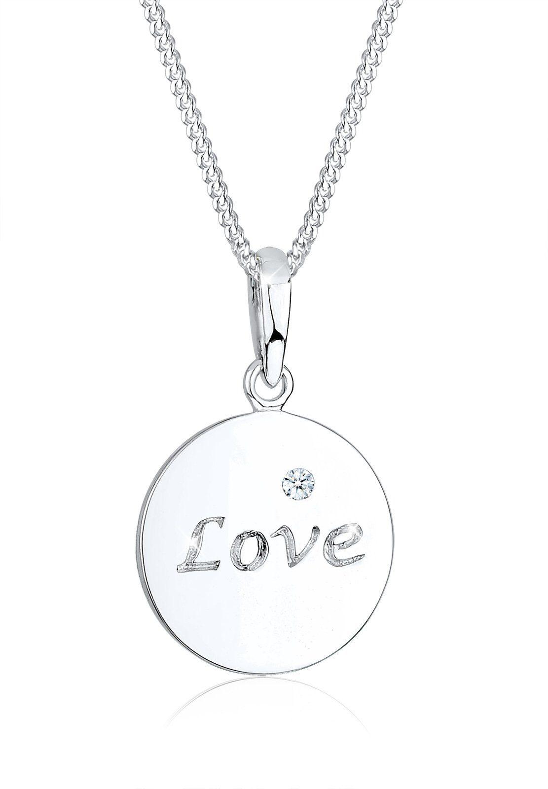 Diamore Collierkettchen »LOVE Wording Diamant 925 Sterling Silber«