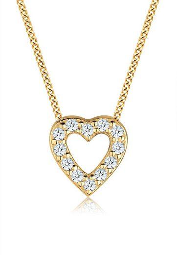Elli Collierkettchen »Herz Klassisch Diamant (0.24 ct) 585 Gelbgold«