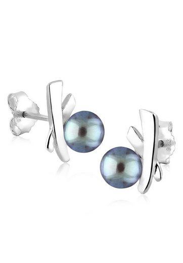 PERLU Paar Ohrstecker »Kreuz Süßwasserzuchtperlen Elegant Stilvoll Silber«