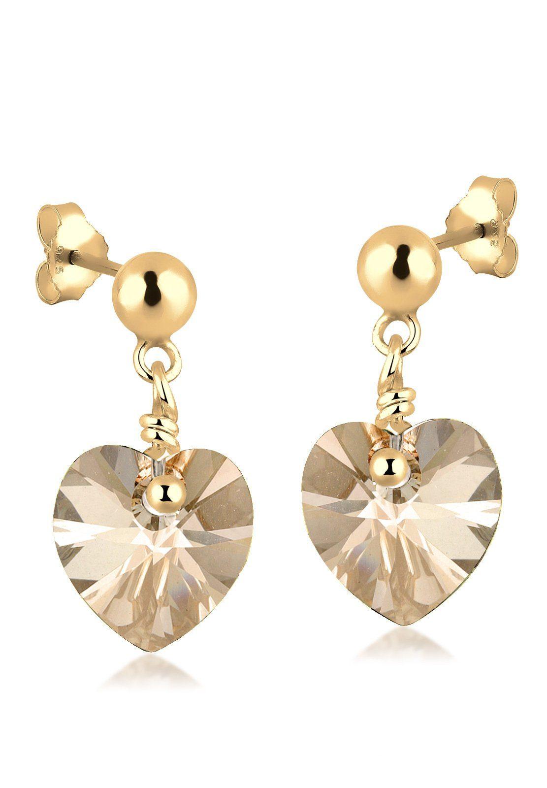 GOLDHIMMEL Paar Ohrhänger »Herz Swarovski® Kristalle Liebe 925 Silber«