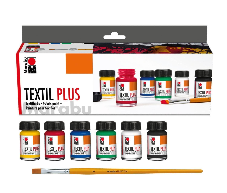 "Marabu Textilfarben-Set ""Textil PLUS Starterset"" 6er-Set inkl. Pinsel"