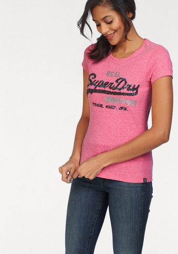 Superdry T-Shirt »VINTAGE LOGO SEQUIN CLASSIC ENTRY TEE« mit Pailletten und Glitzerprints