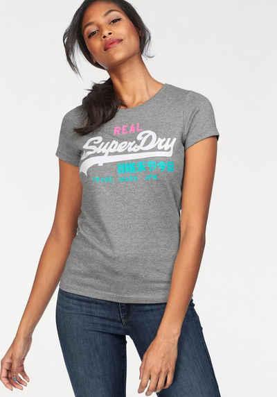 Superdry Print-Shirt »SUEDE VINTAGE LOGO ENTRY TEE« mit modischen Neon- Details 203527ec05