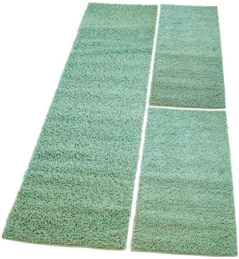Bettumrandung »Pastell Shaggy300« Carpet City, höhe 30 mm, (3-tlg)