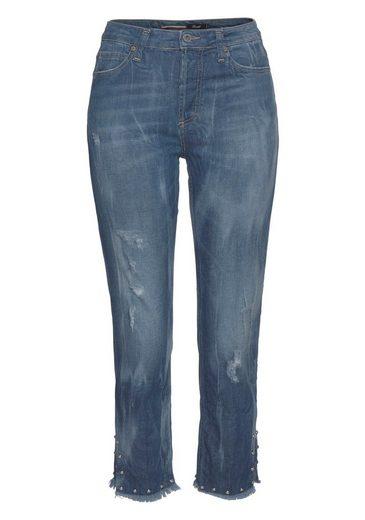 Please Jeans Boyfriend-Jeans mit Perlen-Besatz am ausgefransten Saumabschluss