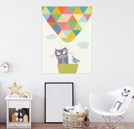 Posterlounge Wandbild - Jaysanstudio »Katze und Luftballon«
