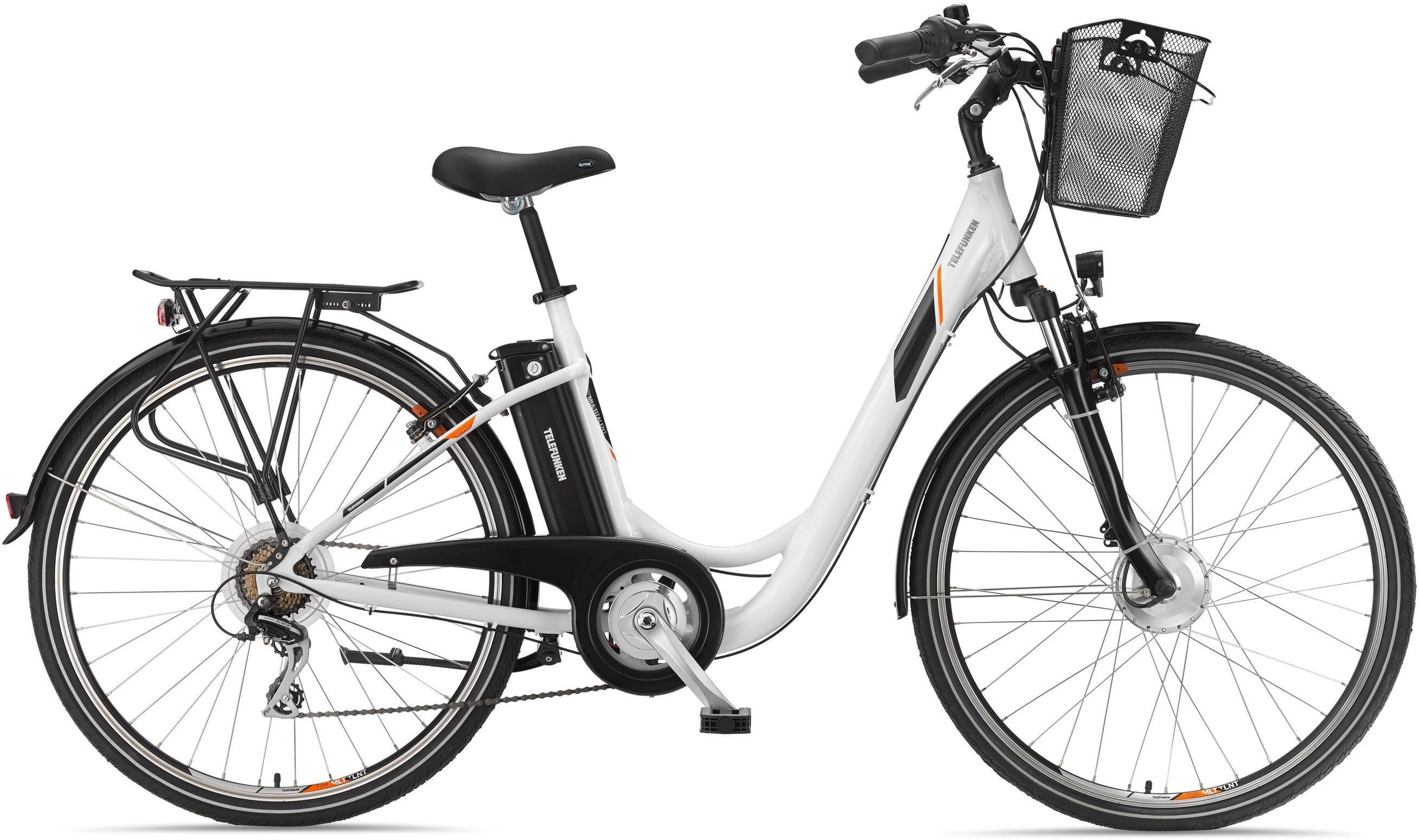 Telefunken Alu City E-Bike, 28 Zoll, 7-Gang Shimano Tourney Kettenschaltung, »RC736 Multitalent«
