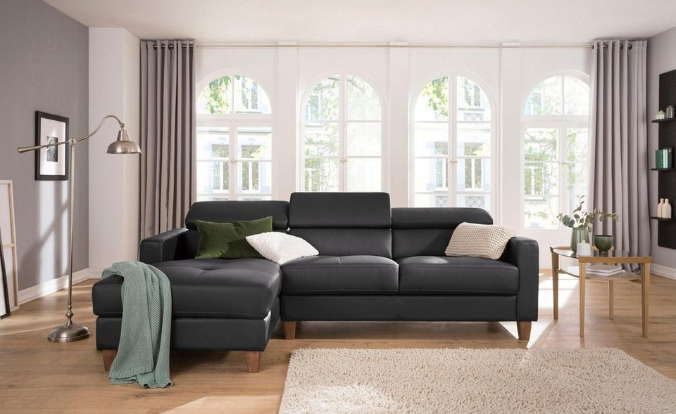 home affaire ecksofa luzern mit recamiere mit verstellbarer kopfst tze und holzf en online. Black Bedroom Furniture Sets. Home Design Ideas