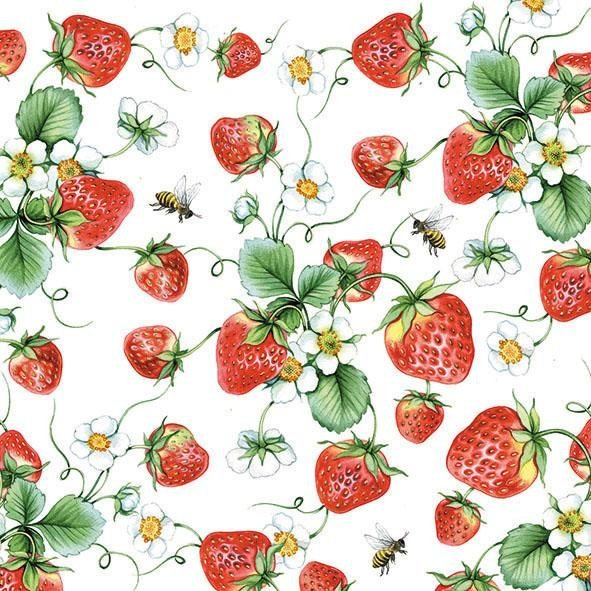 Serviette ´´Strawberries´´ | Heimtextilien > Tischdecken und Co > Servietten | Papier