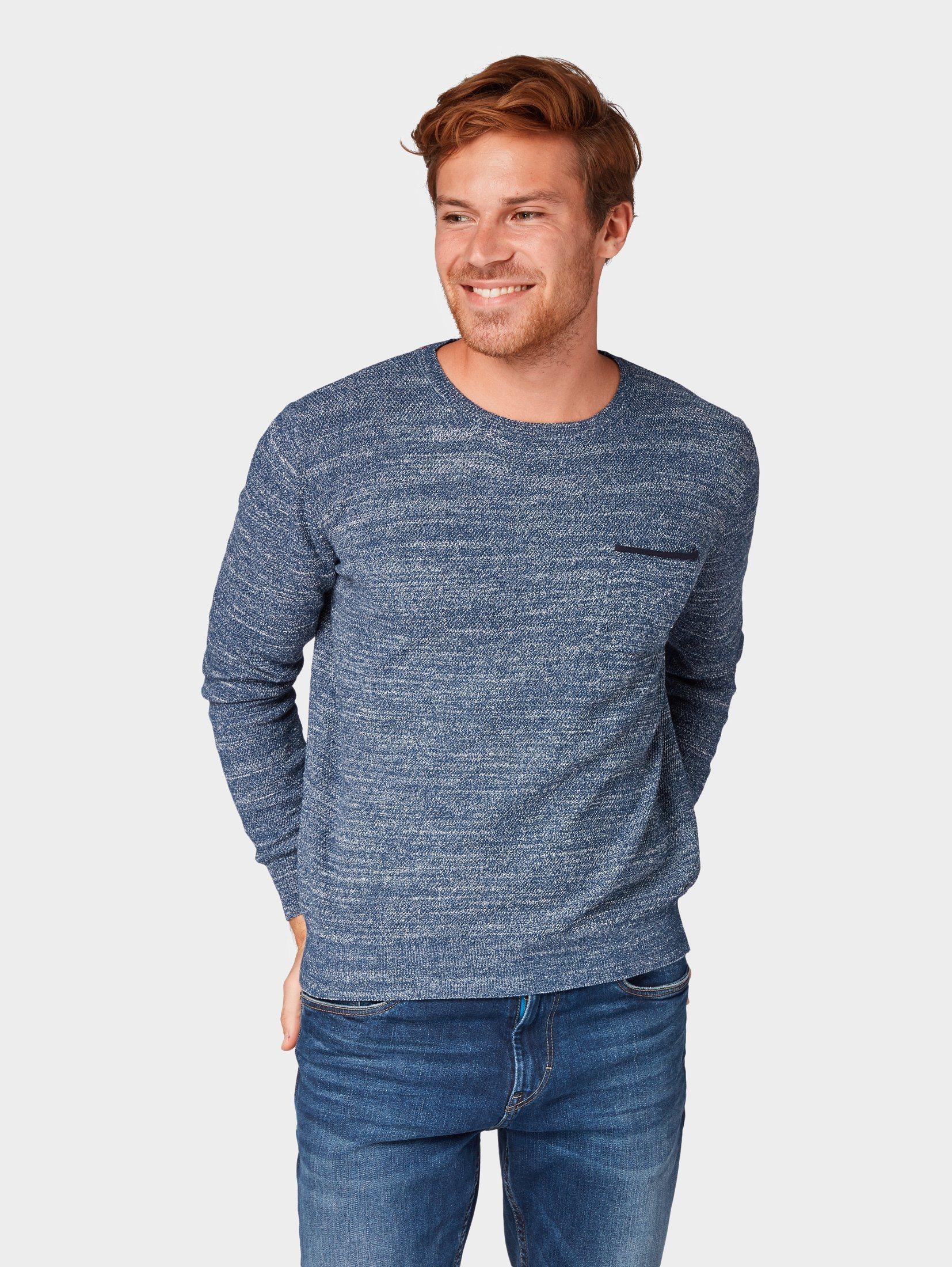 Tom Tailor Rundhalspullover »Strickpullover mit Struktur« | Bekleidung > Pullover > Rundhalspullover | Blau | Polyester - Baumwolle | Tom Tailor