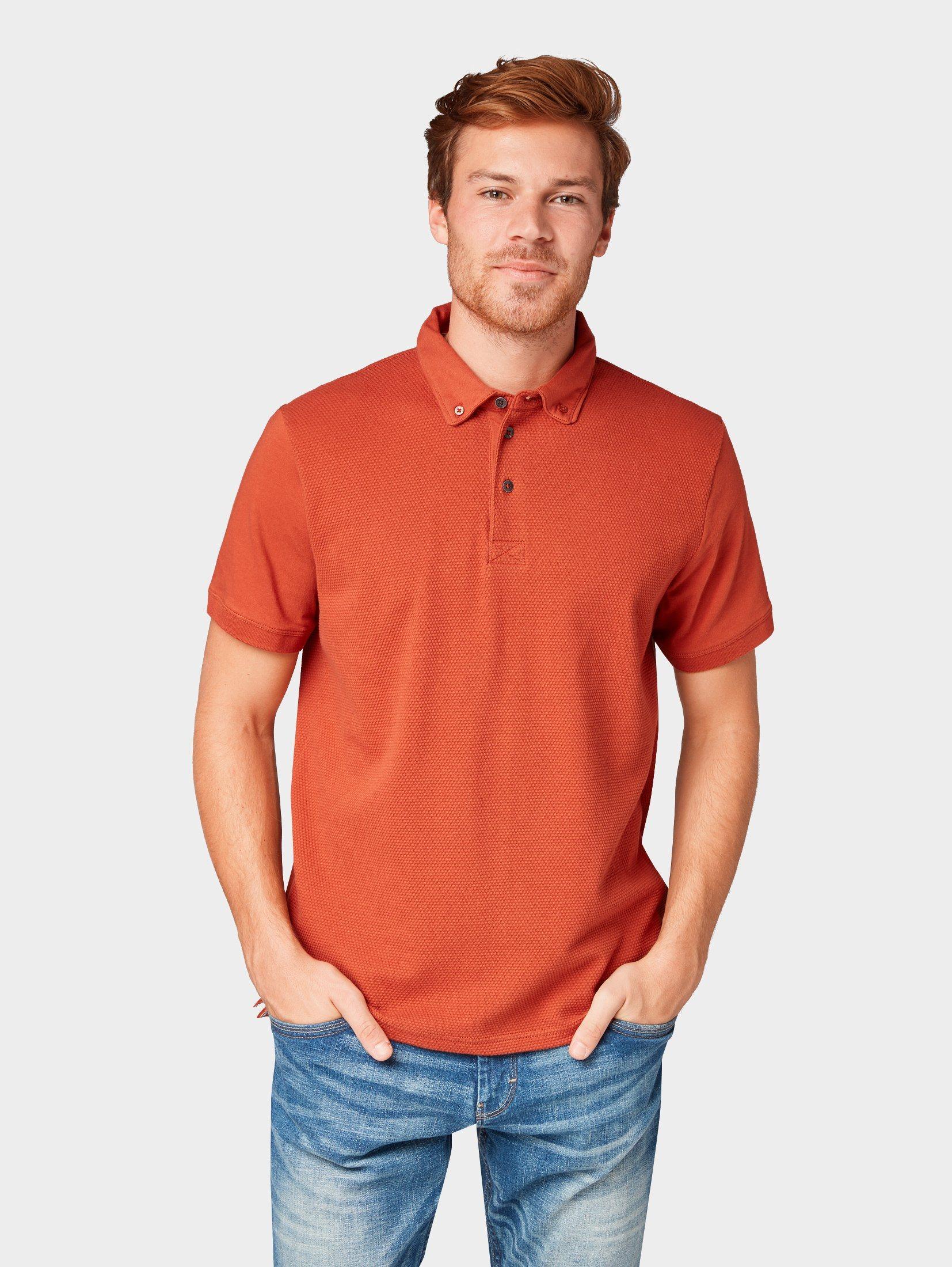 TOM TAILOR T Shirt »Poloshirt mit Popcorn Struktur«