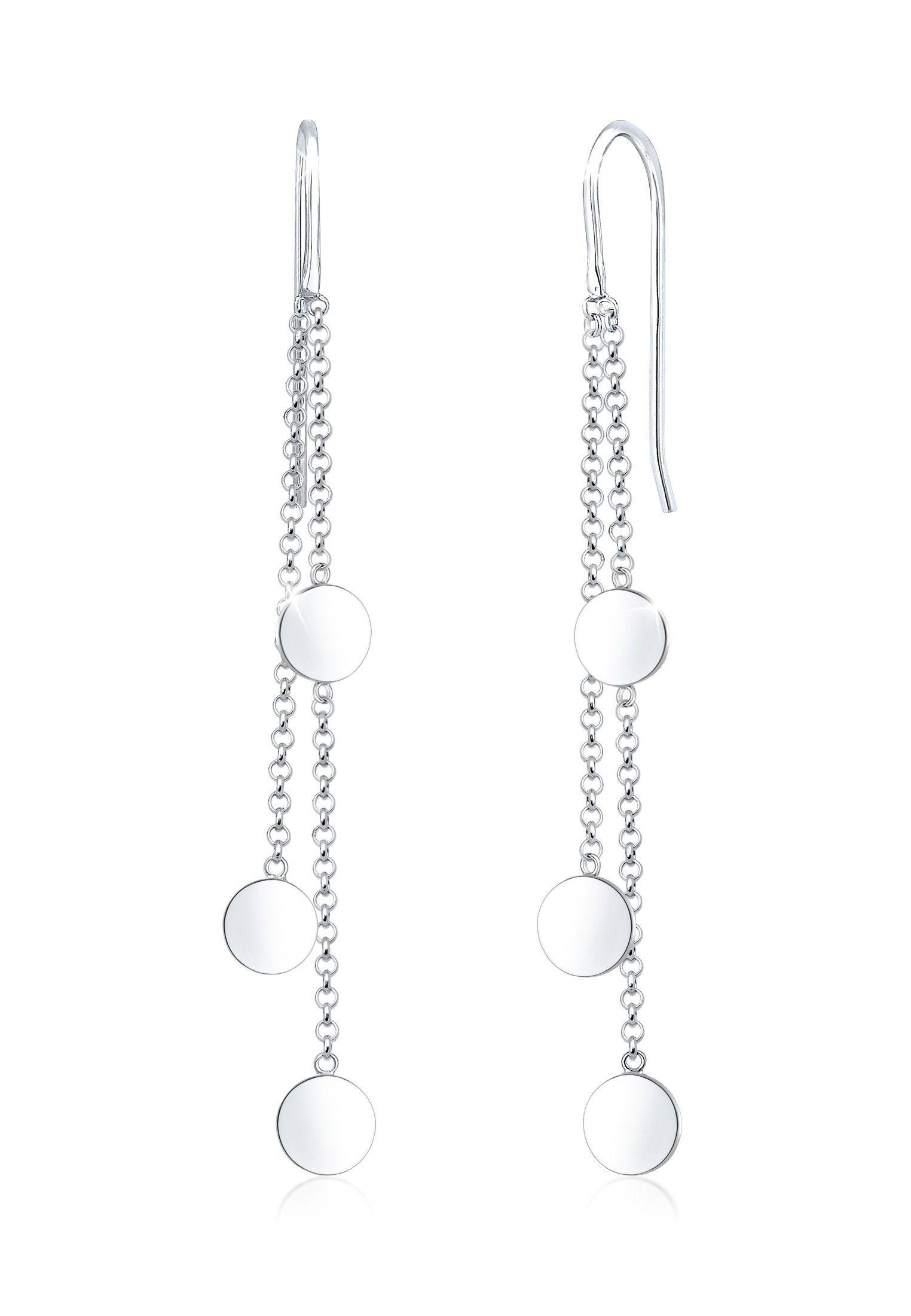 Elli Paar Ohrhänger »Ohrhänger Geo Kreis Plättchen Trend 925er Silber«