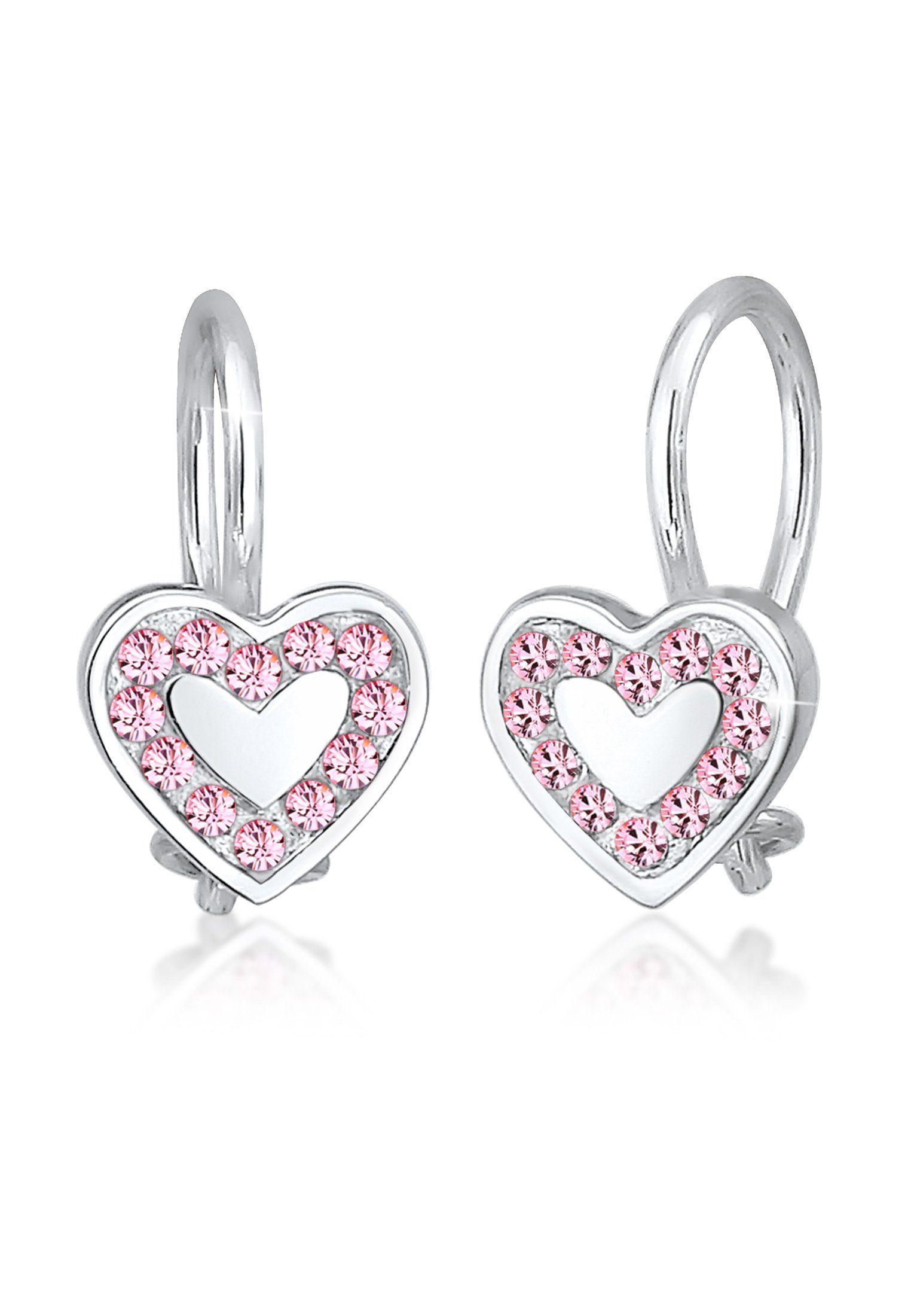 Elli Paar Ohrhänger »Kinder Herz Hänger Swarovski® Kristalle 925 Silber«