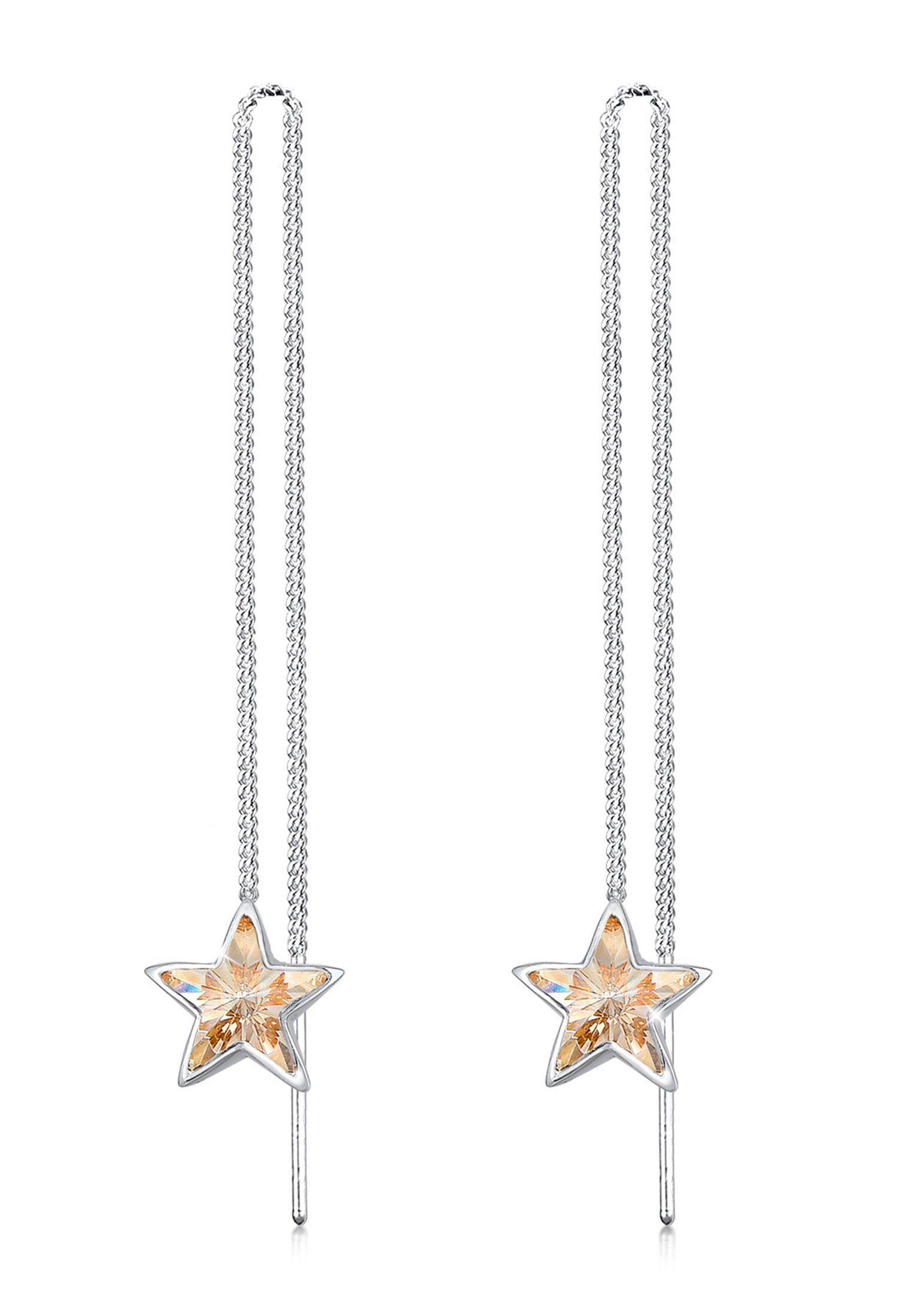 Elli Paar Ohrhänger »Hänger Stern Astro Swarovski® Kristalle 925 Silber«