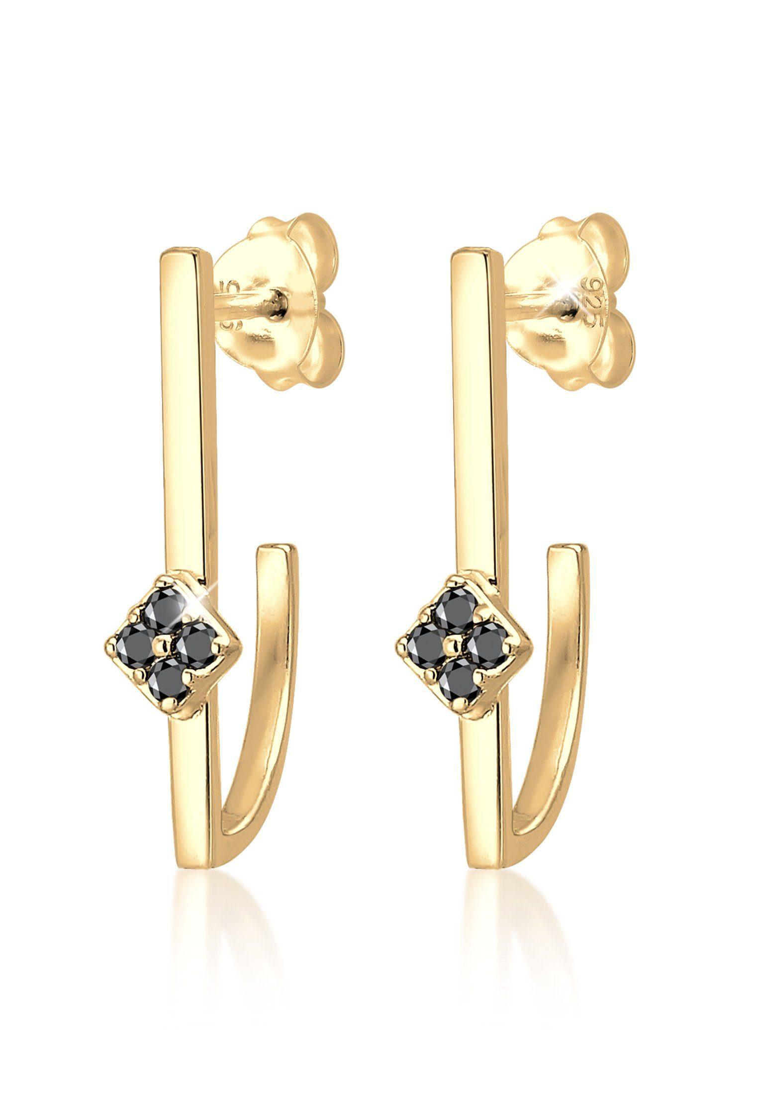 Elli Paar Creolen »Hänger Geo Schwarzer Diamant (0.16 ct) 925 Silber«