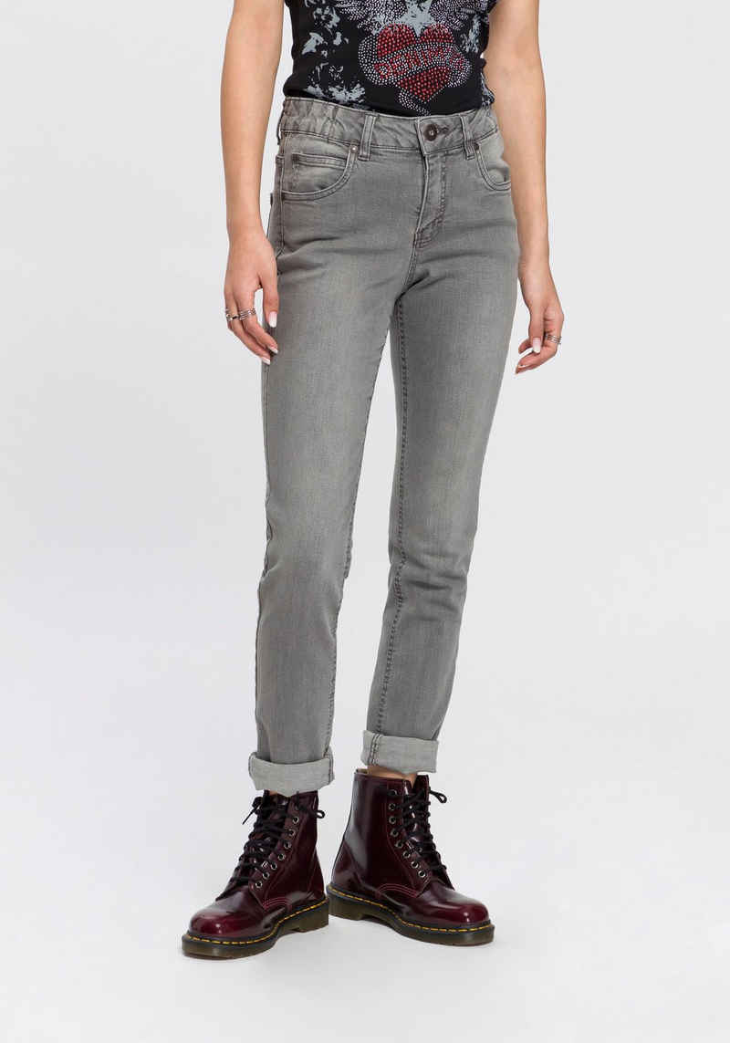 Arizona Slim-fit-Jeans »Svenja - Bund mit seitlichem Gummizugeinsatz« High Waist