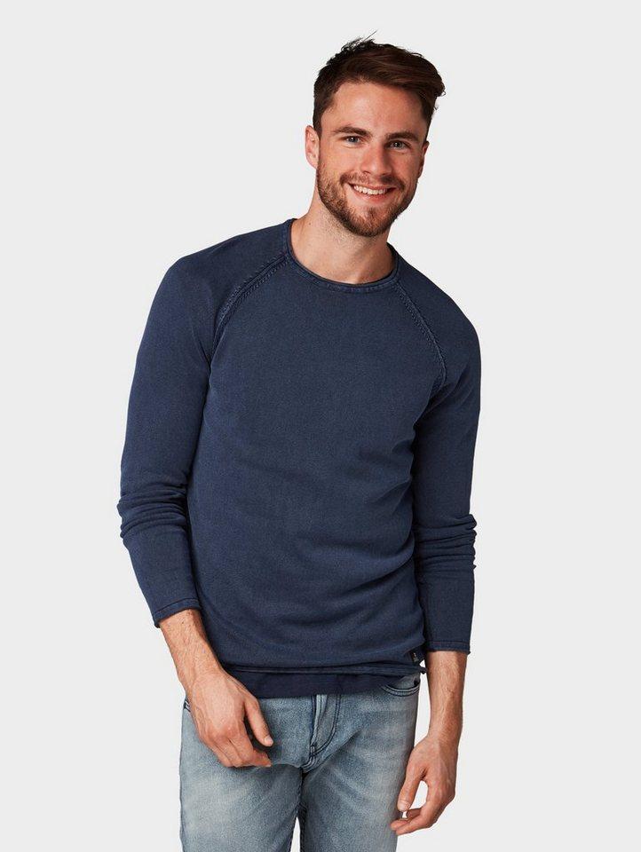 Herren TOM TAILOR Denim  Strickpullover Pullover mit Raglan-Ärmeln blau | 04060868217824